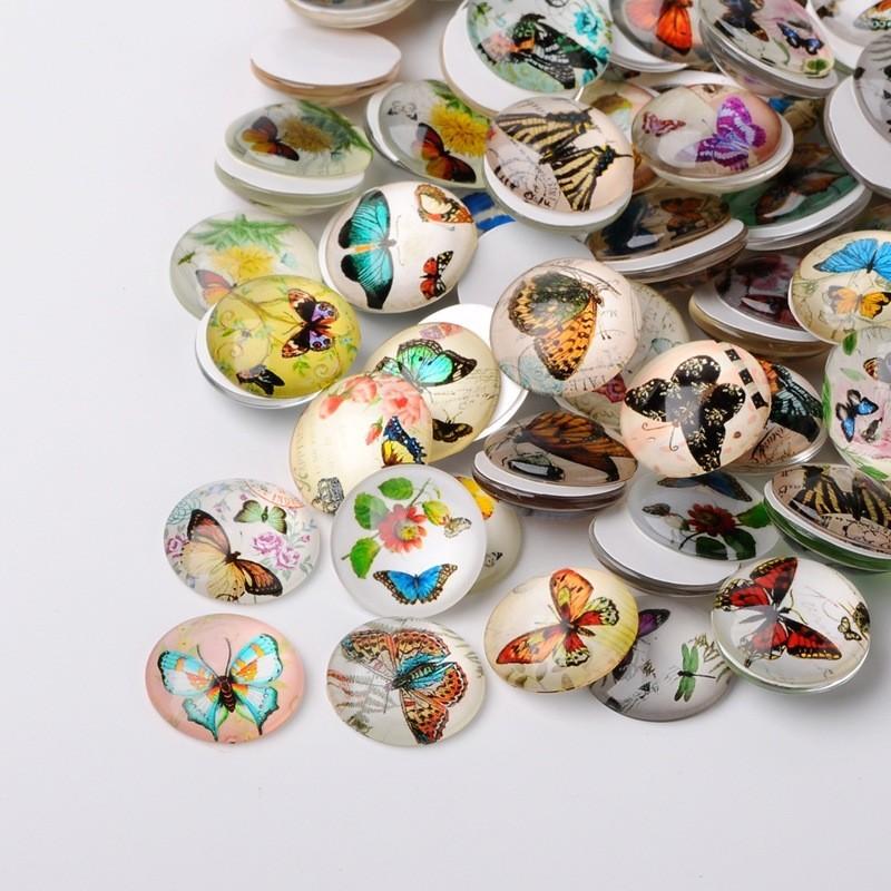 5 Cabochons décor papillons 25 x 18 mm