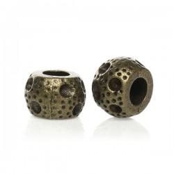 Perle métal ronde aspect criblé bronze Style Pandora