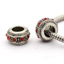 Perle métal rondelle strass rose  style Pandora