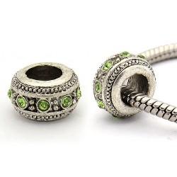 Perle métal rondelle strass vert style Pandora