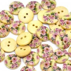 5 boutons bois pivoine 15 mm