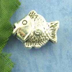 Perle métal poisson argent