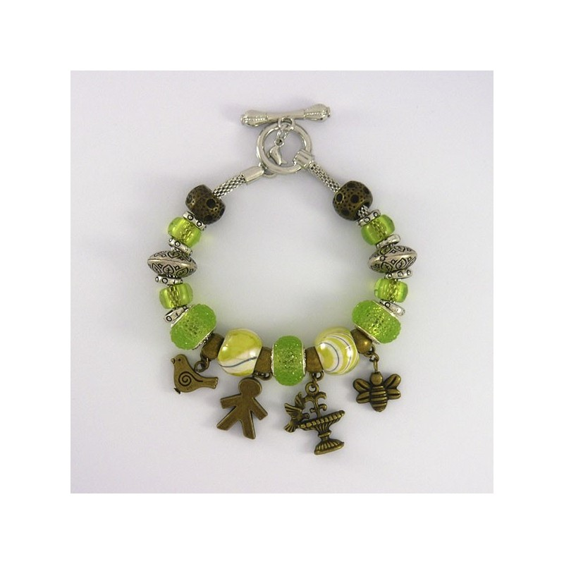 Style pandora Bracelet charm 20 cm argenté  (bijoux européen)