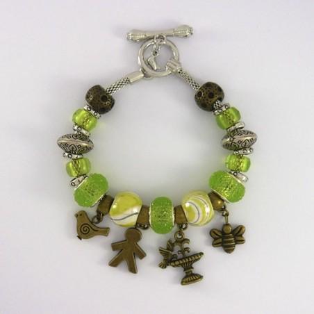 Bracelet style Pandora vert breloques nature