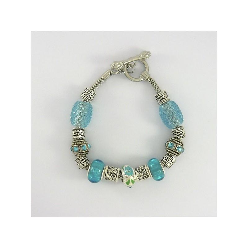 Bracelet style Pandora turquoise et strass