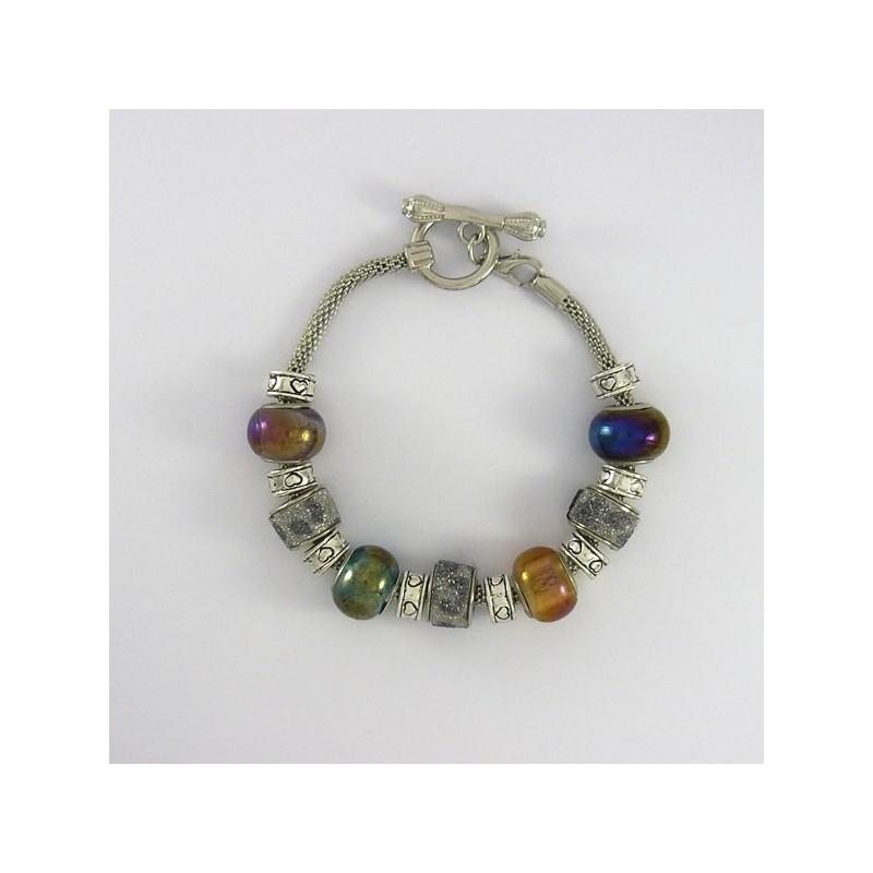 Bracelet style Pandora ton irisé et scintillant