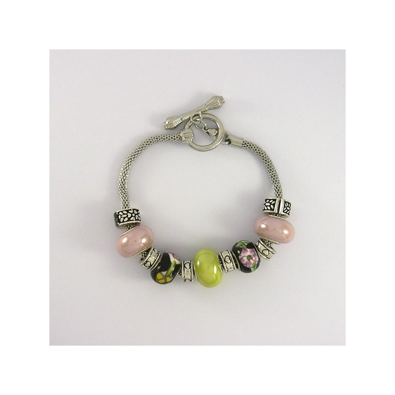 Bracelet style Pandora porcelaine rose et amande