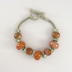Bracelet style Pandora porcelaine orangé saumon