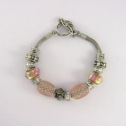 Bracelet style Pandora coeur rose strass