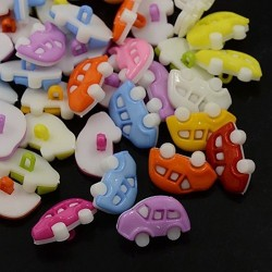 10 boutons forme voiture couleurs assorties