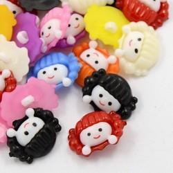 10 boutons tête de poupée couleurs assorties
