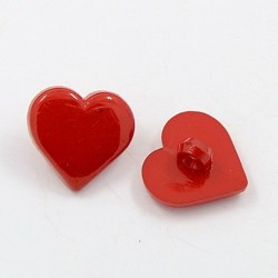 5 boutons forme coeur 17 mm