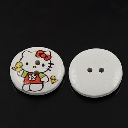5 boutons chat enfantin rond 23 mm