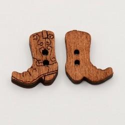 4 boutons forme botte cow-boy bois 21 mm