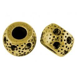 Perle métal ronde aspect criblé doré antique Style Pandora