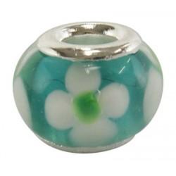 Perle verre lampwork style Pandora turquoise et fleur