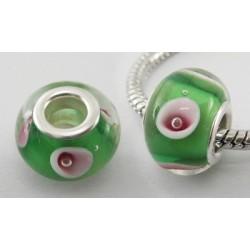 Perle verre lampwork style Pandora vert blanc rose