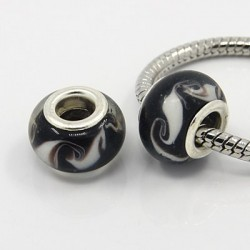 Perle verre lampwork style Pandora noir et volutes blanches