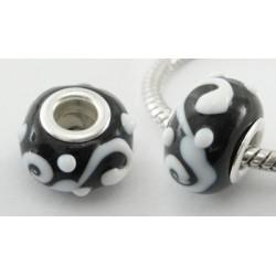 Perle verre lampwork style Pandora noir volutes et point blanc