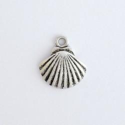 Coquille Saint Jacques courbe métal argent vieilli