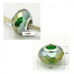 Perle en verre de style Pandora à facettes, bronze AB
