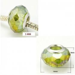 Perle en verre de style Pandora à facettes, vert clair AB