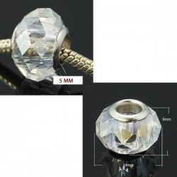 Perle en verre de style Pandora à facettes argent transparent AB