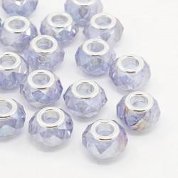 Perle en verre de style Pandora à facettes transparent AB