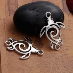 Connecteur de bijou en forme de tortue style Bohême ligne évidée et pure