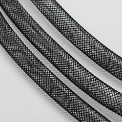 Cordon tubulaire résille noir 10 mm