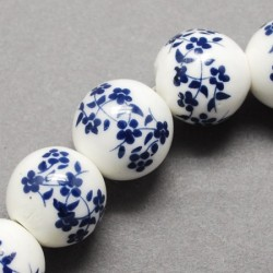 Perle porcelaine marine et blanc 10 mm
