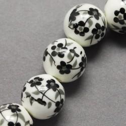 Perle porcelaine noir et blanc 10 mm pour créer vos bijoux fantaisie