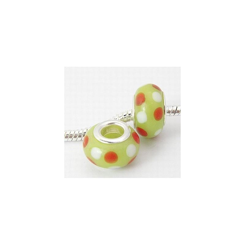 Perle verre chalumeau style Pandora vert orange et blanc pour fabriquer vos bijoux fantaisie style Pandora