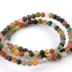 Perle en agate couleurs mélangées 4 mm