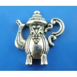 Théière, breloque de charme arabesques couleur argent vieilli