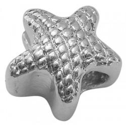 Perle intercalaire étoile style Pandora (bijou européen) couleur argent 13 x 10 mm - trou 5 mm