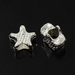 Perle intercalaire étoile style Pandora (bijou européen) couleur platine - 13 x 7 mm - trou 5 mm