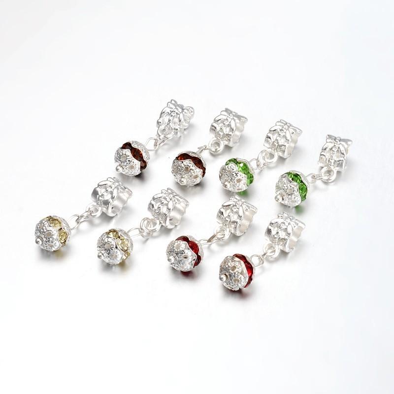 Pendentif style Pandora forme balle avec strass, bijou européen couleur au choix Haut 24, trou 4,5  largeur 8 mm