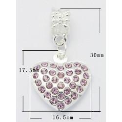 Pendentif style Pandora coeur avec strass rose