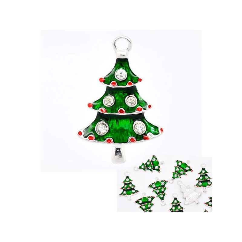 Sapin de Noël émaillé vert et strass rouge et blanc