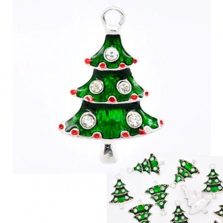 Sapin de Noël charme  émaillé vert et strass rouge et blanc