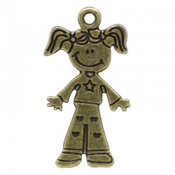 Breloque petite fille couleur bronze pour charme ou pendentif fantaisie