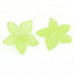 10 perles forme fleur vert clair aspect givré pour bijou fantaisie, collier, bracelet
