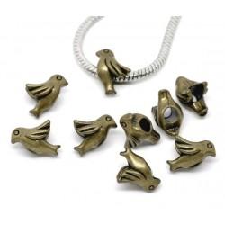 Perle metal style Pandora oiseau charm bronze, pour collier, bracelet et autre fantaisie compatible Pandora