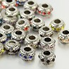 Perle métal rondelle strass couleurs au choix style Pandora