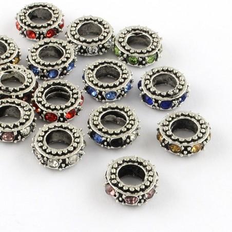 Perle métal rondelle 4,5 mm strass couleurs au choix style Pandora