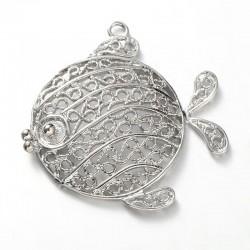Poisson métal au fil pendentif ou breloque de charme