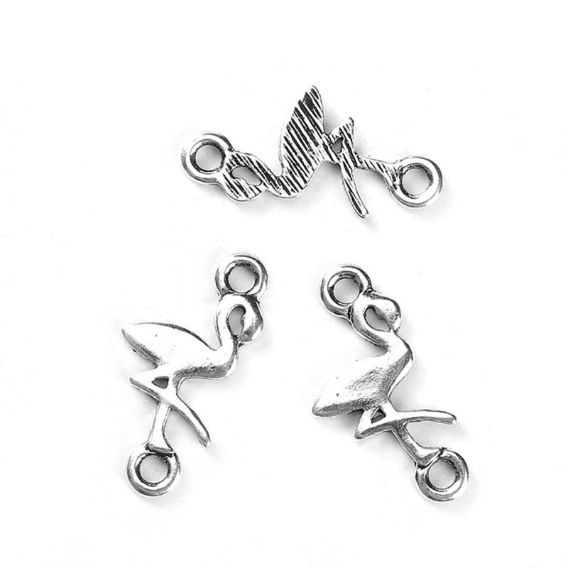 Connecteur entre-deux forme flamand rose pour relier ou connecter vos bijoux