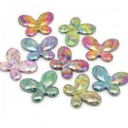 3 Perles papillon, intercalaire 4,5 x 3,4 cm couleurs irisées