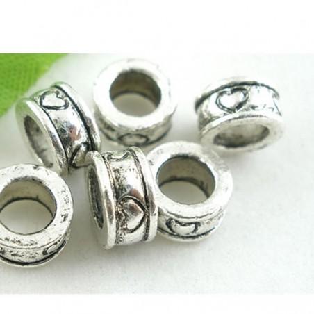 Perle intercalaire de style Pandora décor coeur argent vieilli